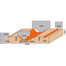 Plaquette carbure profil d2  ref 615d2**