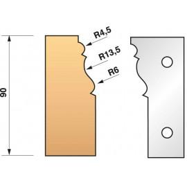 JEU de 2 fers profilés N°301 pour P.O. Ht.90mm