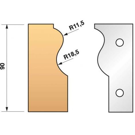 JEU de 2 fers profilés N°303 pour P.O. Ht.90mm