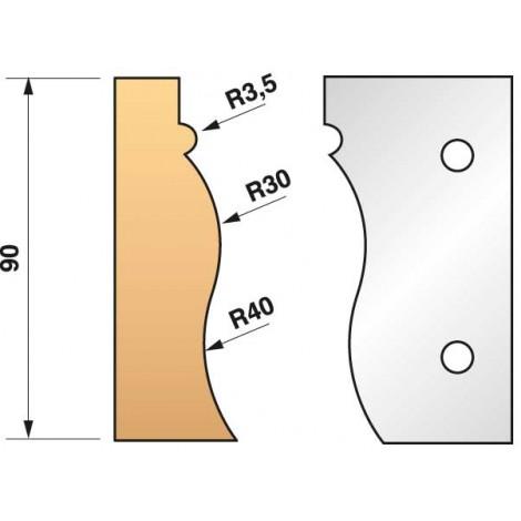 JEU de 2 fers profilés N°322 pour P.O. Ht.90mm