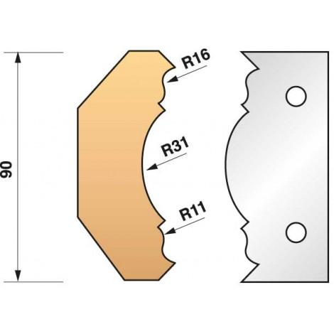 JEU de 2 fers profilés N°353 pour P.O. Ht.90mm