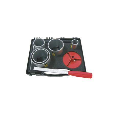 COFFRET 5 TREPANS concrétion carbure D.33/53/63/67/73 + accessoires