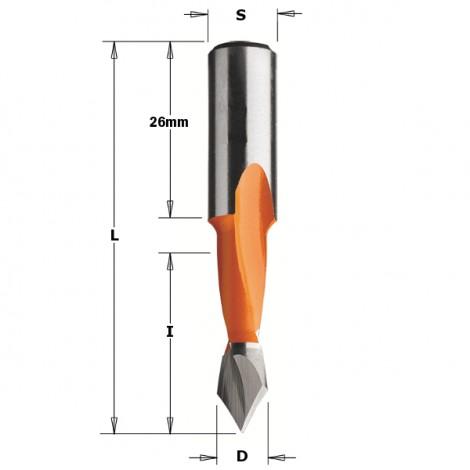 Mèches pour perceuses multi-broches pour trous débouchants - 313 - D : 8 - l : 27 - L : 57.5 - S : 10x26 - Rotation : GAUCHE