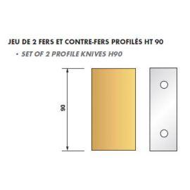 JEU de 2 fers profilés N°090 pour P.O. Ht.90mm