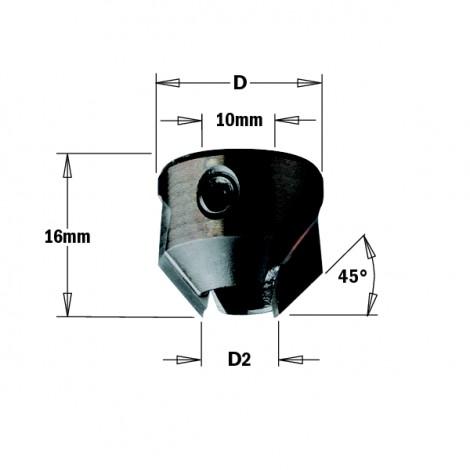 Fraisoirs pour mèches hélicoïdales - D2 : 11-12 - D : 22 - L : 16 - Rotation : DROITE