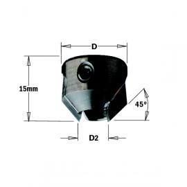 Fraisoirs pour mèches hélicoïdales - D2 : 8 - D : 18 - L : 15 - Rotation : DROITE