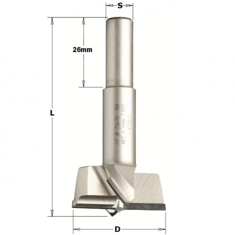 Mèches à façonner pour charnières - D : 15 - L : 57.5 - S : 10x26 - Rotation : GAUCHE