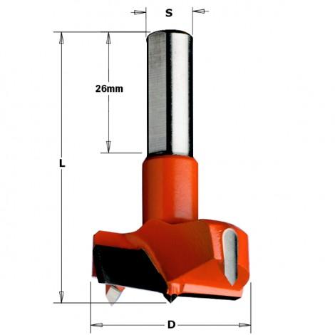Mèches à façonner pour charnières - 317 - D : 22 - L : 57.5 - S : 10x26 - Rotation : DROITE