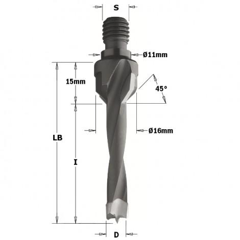 Mèches à queue filetée - D : 5 - l : 40 - LB : 55 - S : M10/11x4 - Rotation : DROITE