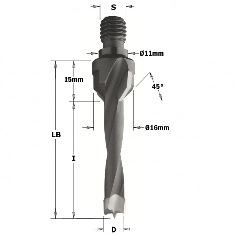 Mèches à queue filetée - D : 5 - l : 40 - LB : 55 - S : M10/11x4 - Rotation : GAUCHE