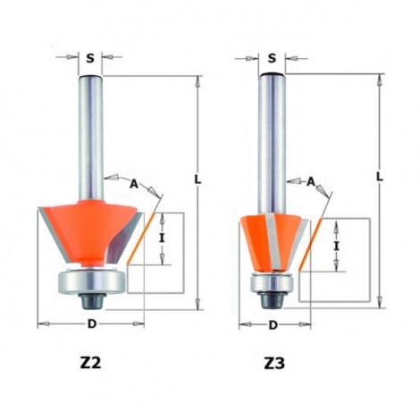 Fraises à chanfreiner et affleurer - A : 30° - D : 27 - l : 9 - L : 55 - Z : 2 - S : 6 - Rotation : DROITE