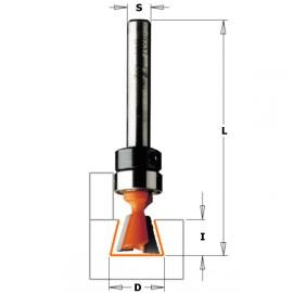 Fraises à queue d'aronde - Avec roulement - D : 9.5 - l : 9.5 - L : 60.3 - A : 14° - S : 6 - Rotation : DROITE