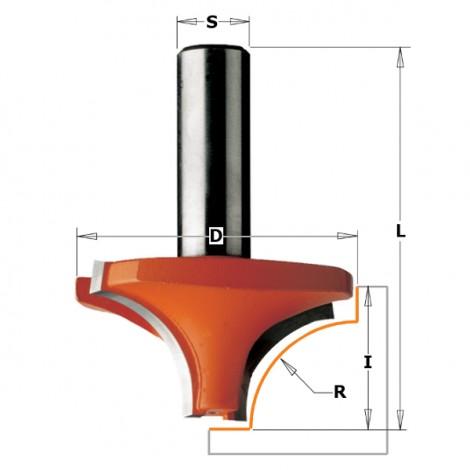Fraises à arrondir quart de rond - R : 6 - D : 23 - l : 12 - L : 43.8 - S : 6 - Rotation : DROITE