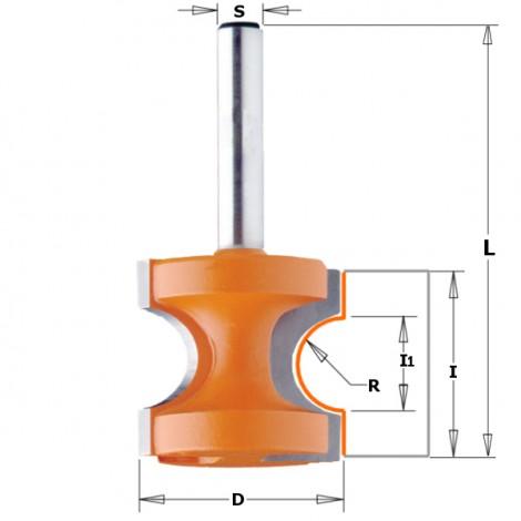 Fraises à arrondir demi rond avec plat - R : 3.2 - D : 22.2 - I1 : 6.56 - l : 19 - L : 50.8 - S : 6 - Rotation : DROITE