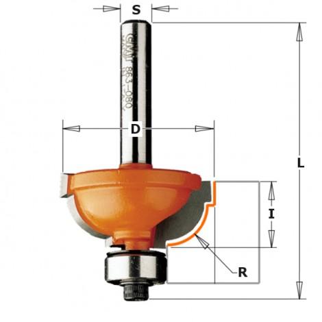 Fraise à doucine romaine au carbure - R : 8 - D : 31.7 - l : 14.3 - L : 56.9 - S : 6 - Rotation : DROITE