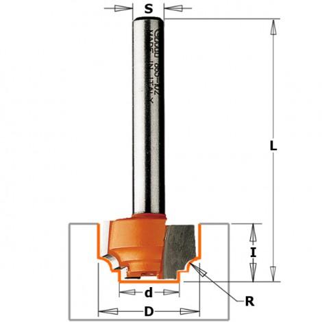 Fraises profilées classiques - Profil E - D : 12.7 - d : 8.4 - R : 1.2 - l : 12.7 - L : 50.8 - S : 6 - Rotation : DROITE