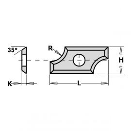Plaquettes réversibles - 4 tranchants - F1730 - L : 19.5 - H : 9 - K : 1.5 - R : 3 - A : 35°