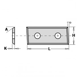 Plaquette carbure reversible   28.3 x 12 x 1.5            pour meche serie 653 ref 79028312**