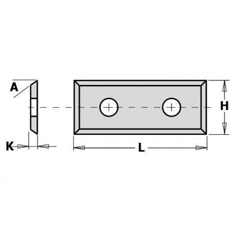 Plaquettes réversibles - 4 tranchants - L : 29.5 - H : 12 - K : 1.5 - A : 35°
