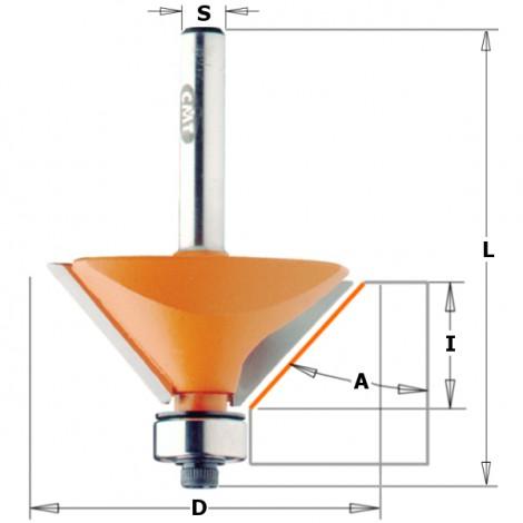 Fraises à chanfreiner - D : 31.7 - l : 9.5 - L : 53 - S : 6.35 - A : 45° - Rotation : DROITE