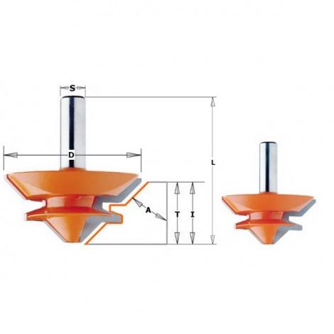 Fraises pour bouvetage d'angle droit - D : 50.8 - l : 22.2 - A : 45° - T1 : 9.5-19 - L : 60.3 - S : 12.7 - Rotation : DROITE