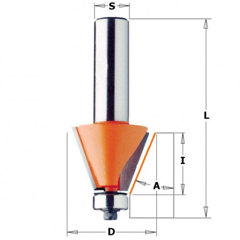 Fraises à chanfreiner - D : 24.5 - l : 22 - L : 71.1 - S : 12.7 - A : 15° - Rotation : DROITE