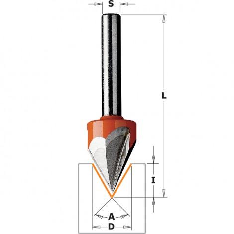 Fraises à pointe laser (35°) - D : 12.7 - l : 11 - A : 60° - Z : 3 - L : 57.2 - S : 6.35 - Rotation : DROITE