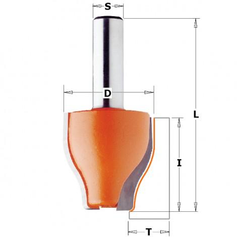 Fraises à plate-bande verticale - Profil B - D : 38 - l : 38 - T1 : 15 - 18 - L : 76.2 - S : 12.7 - Rotation : DROITE
