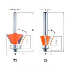 Fraises à chanfreiner et affleurer - A : 45° - D : 27 - l : 5.5 - L : 51.5 - Z : 2 - S : 8 - Rotation : DROITE