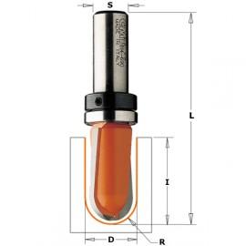 Fraise à gorge - Avec roulement  - R : 8 - D : 15.8 - l : 9.5 - L : 50.8 - S : 8 - Rotation : DROITE