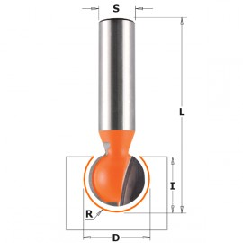 Fraises sphériques - R : 6.35 - D : 12.7 - l : 11 - L : 57.15 - S : 8 - Rotation : DROITE
