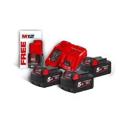M18 NRG-503 - Pack NRJ 18V, 5,0 Ah R Red Lithium, système M18 + OFFERT 1 Batterie M12 2,0 Ah