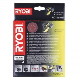 RO125A10 - 10 disques diam. 125 mm auto-agrippants pour ponceuse excentrique, grain 100 / 120 / 240 / 320