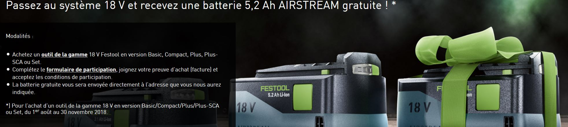 Action Festool Batteries 2018